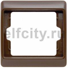 Рамка 1 пост, пластик коричневый глянцевый