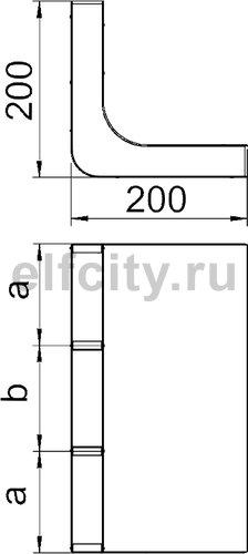 Вертикальный угол 90° кабельного канала EUK 350x38/3 секц. (сталь)