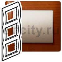 Рамка 3 поста, для вертикального монтажа, вишня