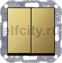 Выключатель двухклавишный, проходной (вкл/выкл с 2-х мест) 10 А / 250 В, латунь