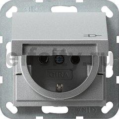 Розетка с заземляющими контактами 16 А / 250 В, с откидной крышкой, пластик под алюминий