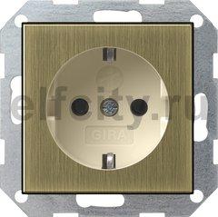 Розетка с заземляющими контактами 16 А / 250 В, с защитой от детей и пиктограммой, бронза/кремовый
