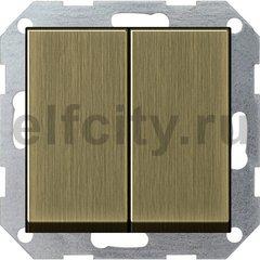 Выключатель двухклавишный, 10 А / 250 В, бронза
