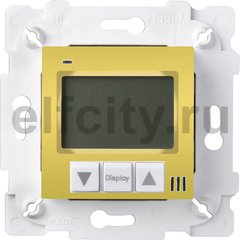 Термостат для электрического подогрева пола 230 В~ 16А , с датчиком температуры пола, светлое золото/белый