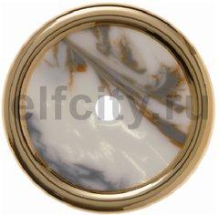 Рамка 1 пост для поворотных выключателей, пластик под белый мрамор/золото 24 карата