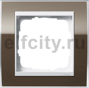 Рамка 1 пост, пластик прозрачный коричневый-глянц.белый