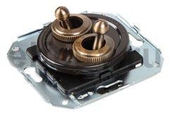 Выключатель тумблерныйный 4-х позиционный для внутреннего монтажа проходной (двухклавишный), коричневый