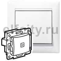Выключатель одноклавишный с подсветкой, проходной (вкл/выкл с 2-х мест), 10 А / 250 В, пластик белый глянцевый