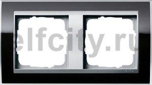Рамка 2 поста, для горизонтального/вертикального монтажа, пластик прозрачный черный-алюминий