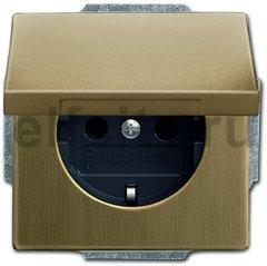 Розетка с заземляющими контактами 16 А / 250 В, с крышкой и защитой от детей, автоматические зажимы, античная латунь