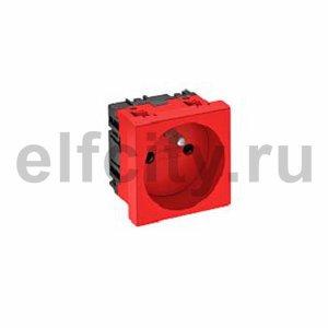 Розетка одинарная 0° франц. стандарт 250 В, 16A (красный)
