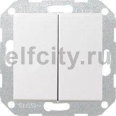 Выключатель двухклавишный, 10 А / 250 В, пластик белый матовый