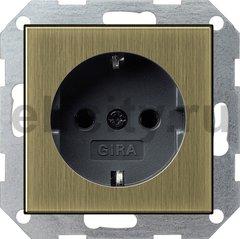Розетка с заземляющими контактами 16 А / 250 В, бронза/черный