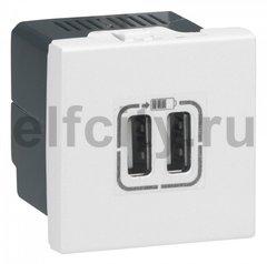 USB розетка Legrand 077594 для зарядки мобильных устройств, цвет белый
