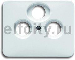 Накладка (центральная плата) для TV-R-SAT розетки, серия alpha nea, цвет белый глянцевый