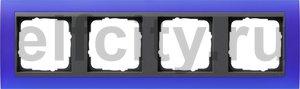 Рамка 4 поста, для горизонтального/вертикального монтажа, пластик матово-синий/антрацит