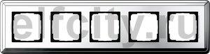 Рамка 5 постов, для горизонтального/вертикального монтажа, хром