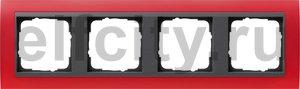 Рамка 4 поста, для горизонтального/вертикального монтажа, пластик матово-красный/антрацит