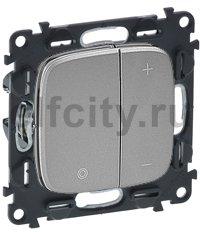Диммер (светорегулятор) кнопочный 5-75 Вт для светодиодных диммируемых ламп и 5-400 Вт для ламп накаливания, алюминий