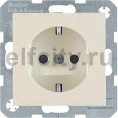 Розетка с заземляющими контактами 16 А / 250 В, с защитой от детей, автоматические зажимы, пластик кремовый (белый с блеском)