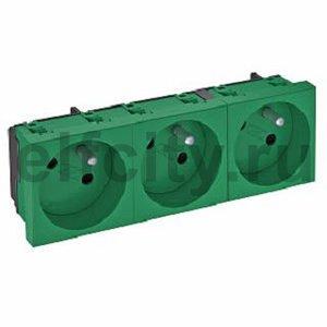 Розетка тройная 33° франц. стандарт, 250 В, 16A (зеленый)