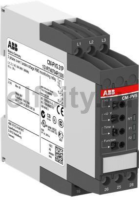 Реле контроля напряжения CM-PVS ( L1-L2-L3 Umin 300-380В, Umax 4 20-500B AC) с реле времени, питание 300-500В АС, 2ПК