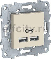 UNICA NEW розетка USB, 2-местная, тип А+А, 5 В / 2100 мА, бежевый