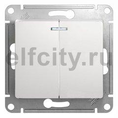 Выключатель двухклавишный с подсветкой, проходной (вкл/выкл с 2-х мест) 10 А / 250 В, белый
