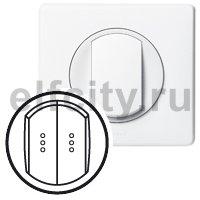 Лицевая панель - Программа Celiane - выключатель/переключатель двухклавишный Кат. № 0 670 01/02/31/32 с подсветкой - белый