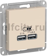 ATLASDESIGN USB РОЗЕТКА A+A, 5В/2,1 А, 2х5В/1,05 А, механизм, БЕЖЕВЫЙ