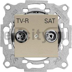 Розетка телевизионная одиночная TV-FM/SAT, диапазон частот от 47 до 2150 Mгц, шампань