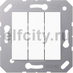 Выключатель, переключатель 3-х клавишний, (вкл/выкл с 1-го и 2-х мест) 10 А / 250 В, пластик белый глянцевый