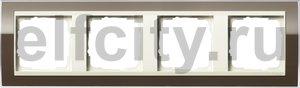 Рамка 4 поста, для горизонтального/вертикального монтажа, пластик прозрачный коричневый-кремовый глянец