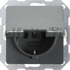Розетка с заземляющими контактами 16 А / 250 В, с откидной крышкой, нержавеющая сталь
