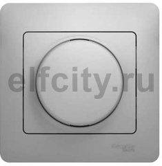 Диммер (светорегулятор) поворотный 60-300 Вт, в сборе с рамкой, используется для ламп накаливания и галогенных 220В, алюминий