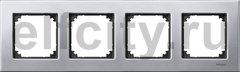 Рамка 4 поста, для горизонтального/ вертикального монтажа, металл платина-серебро