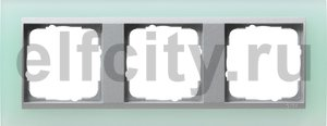 Рамка 3 поста, для горизонтального/вертикального монтажа, пластик матово-салатовый/алюминий