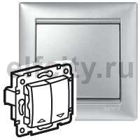 Выключатель управления жалюзи с электрической блокировкой, 10 А / 250 В, пластик под алюминий