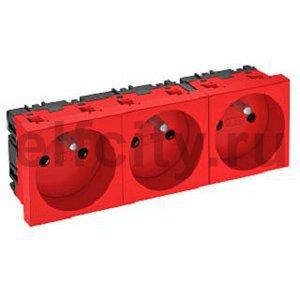 Розетка тройная 0° франц. стандарт, 250 В, 16A (красный)
