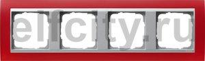 Рамка 4 поста, для горизонтального/вертикального монтажа, пластик матово-красный/алюминий