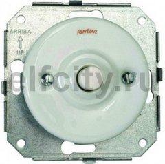 Выключатель кнопочный одинарный, работает только в импульсном режиме, 10А / 250В, фарфор белый