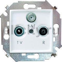 Розетка телевизионная одиночная FM / TV / SAT, диапазон частот от 5 до 2400 Mгц, белый