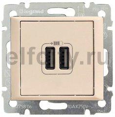 Зарядное USB устройство с двумя выходами, используется для зарядки планшетных компьютеров, телефонов, MP3 и MP4 плейеров, 1500мА, пластик кремовый глянцевый