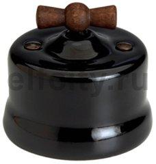 Диммер поворотный 60-900 Вт. для ламп накаливания и галоген., 220В, наружный монтаж, фарфор черный, ручка старое дерево