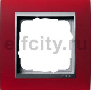 Рамка 1 пост, пластик матово-красный/алюминий