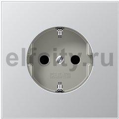 Розетка с заземляющими контактами 16 А / 250 В, алюминий