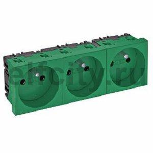 Розетка тройная 0° франц. стандарт, 250 В, 16A (зеленый)