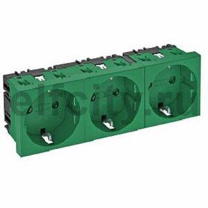 Розетка тройная 0° с з/к, 250 В, 16A (зеленый)