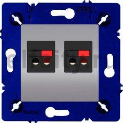 Розетка двойная, для стерео-громкоговорителя, светлый хром/черный