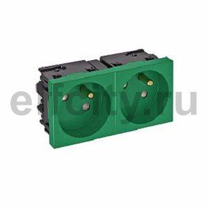 Розетка двойная 33° Modul45connect, франц. стандарт, 250 В, 16A (зеленый)